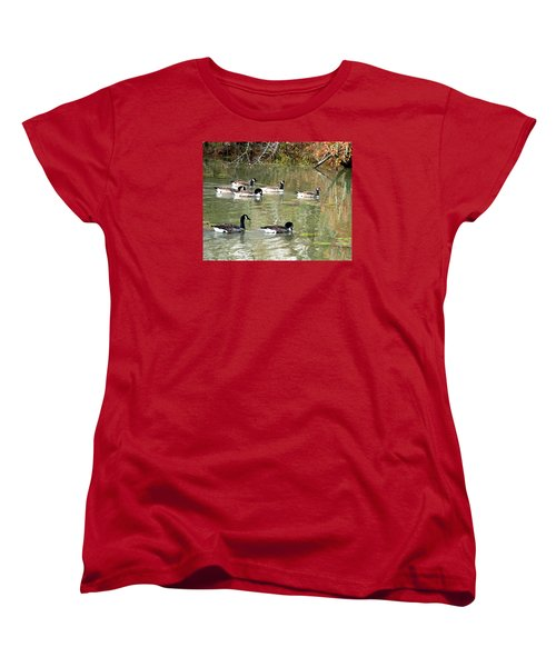 Women's T-Shirt (Standard Cut) featuring the photograph Canadian Geese Swimming In Backwaters by William Tanneberger