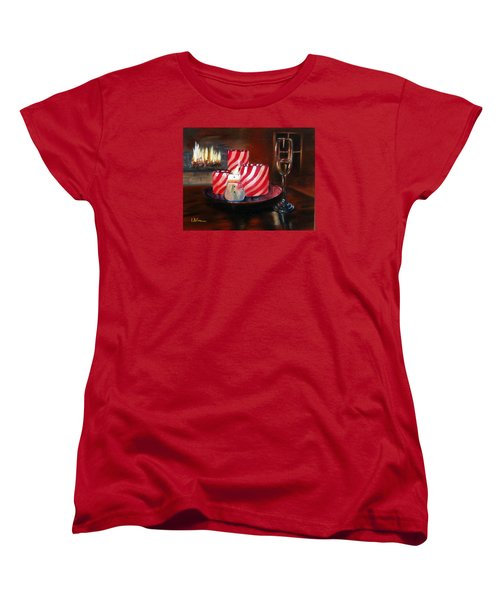 Women's T-Shirt (Standard Cut) featuring the painting Candle Glow by LaVonne Hand