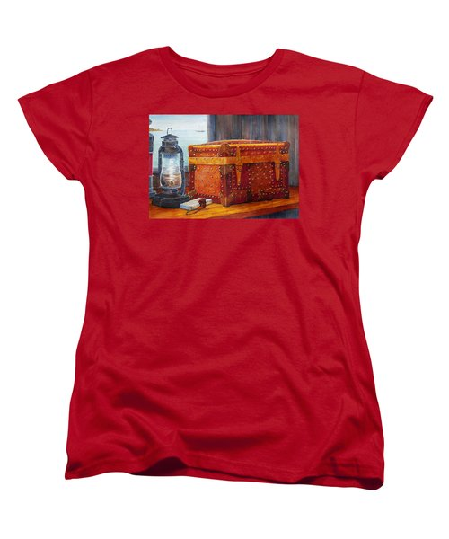 Women's T-Shirt (Standard Cut) featuring the painting Capt. Murray's Chest by Roger Rockefeller
