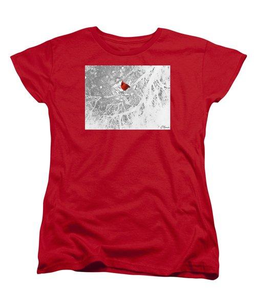Cardinal In Winter Women's T-Shirt (Standard Cut) by Ellen Henneke