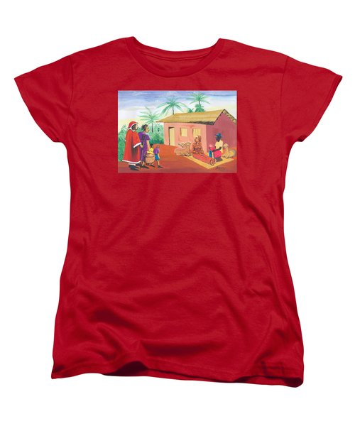 Women's T-Shirt (Standard Cut) featuring the painting Celebration Of The Nativity In Cameroon by Emmanuel Baliyanga