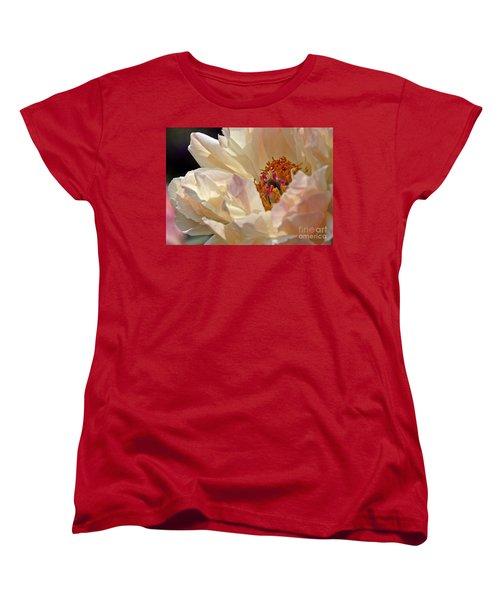 Champagne Peony Women's T-Shirt (Standard Cut) by Lilliana Mendez