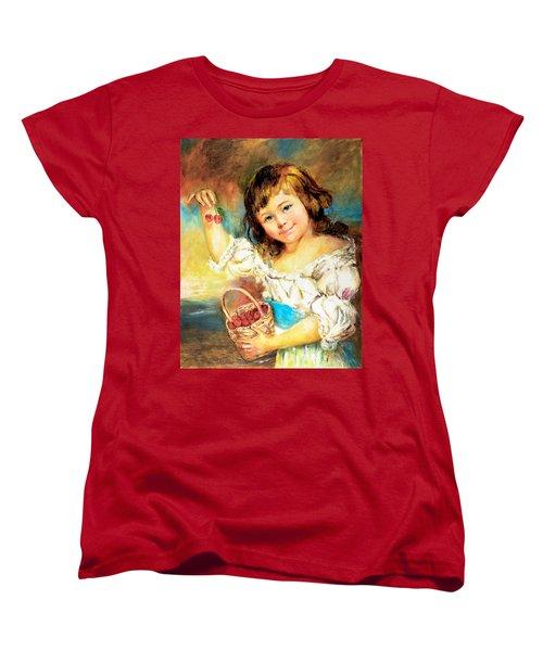 Cherry Basket Girl Women's T-Shirt (Standard Cut) by Sher Nasser