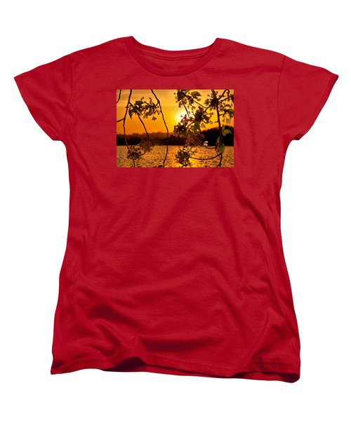Women's T-Shirt (Standard Cut) featuring the photograph Cherry Blossom Sunset by Mitchell R Grosky