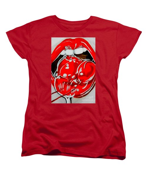 Women's T-Shirt (Standard Cut) featuring the painting Cherry Lips by Marisela Mungia