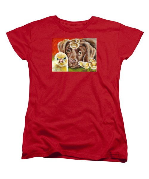 Women's T-Shirt (Standard Cut) featuring the painting Chick Sitting Afternoon by Hiroko Sakai