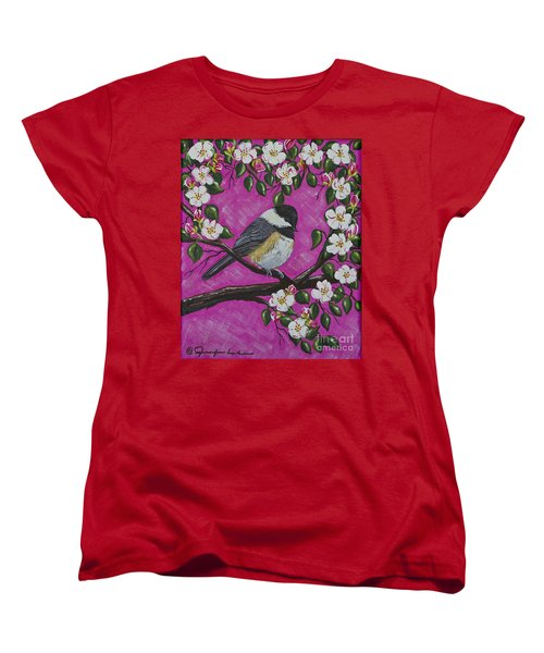 Women's T-Shirt (Standard Cut) featuring the painting Chickadee In Apple Blossoms by Jennifer Lake