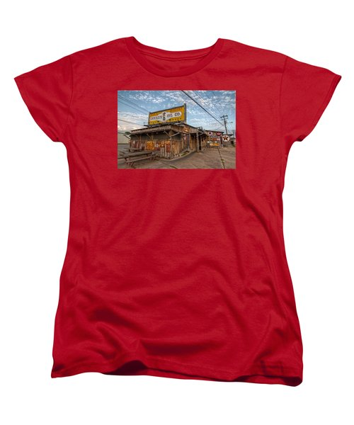 Chicken Oil Company Women's T-Shirt (Standard Cut) by Linda Unger