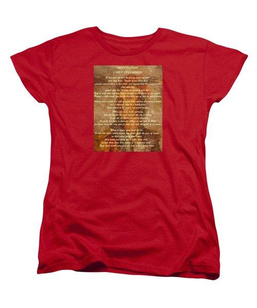 Chief Tecumseh Poem Women's T-Shirt (Standard Cut) by Dan Sproul