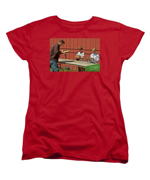 Children 4h Chicken Judging Art Prints Women's T-Shirt (Standard Cut) by Valerie Garner