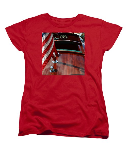 Chris Craft With Flag And Steering Wheel Women's T-Shirt (Standard Cut) by Michelle Calkins