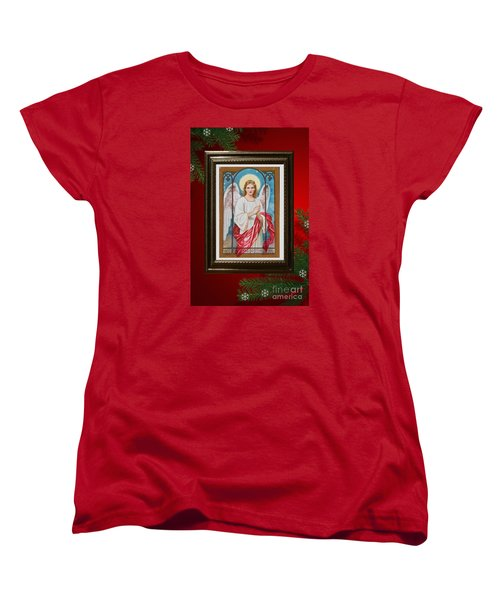 Women's T-Shirt (Standard Cut) featuring the digital art Christmas Angel Art Prints Or Cards by Valerie Garner