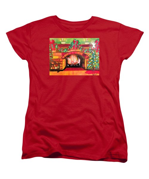 Christmas At The Cabin Women's T-Shirt (Standard Cut) by Renee Michelle Wenker