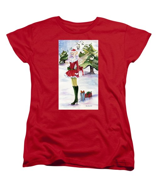Women's T-Shirt (Standard Cut) featuring the painting Christmas Fantasy  by Nadine Dennis