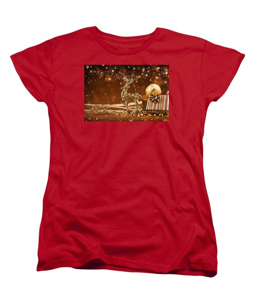Christmas Reindeer In Gold Women's T-Shirt (Standard Cut) by Doc Braham