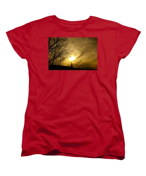 Women's T-Shirt (Standard Cut) featuring the photograph Church Steeple Clouds Parting by Jerry Cowart