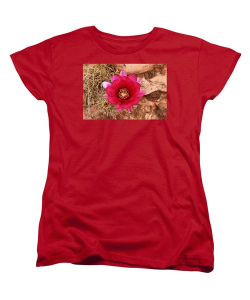Women's T-Shirt (Standard Cut) featuring the photograph Claret Cup Cactus On Red Rock In Sedona by Alan Vance Ley