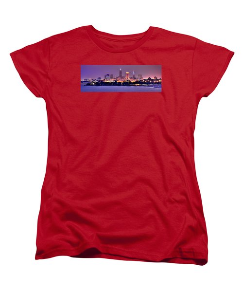 Cleveland Skyline At Night Evening Panorama Women's T-Shirt (Standard Cut) by Jon Holiday