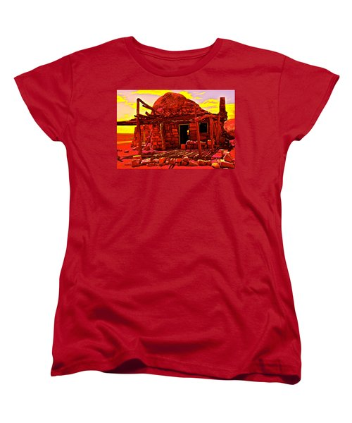 Cliff Dwellers In Red Women's T-Shirt (Standard Cut) by Jim Hogg