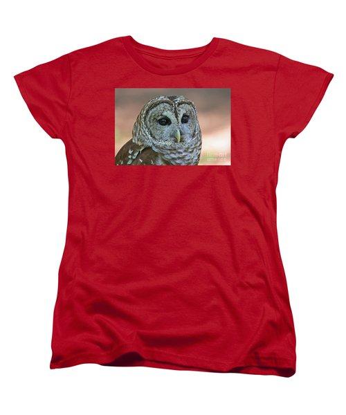 Closeup Of A Barred Owl  Women's T-Shirt (Standard Cut) by Kevin McCarthy