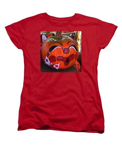 Clown Pumpkin Women's T-Shirt (Standard Cut) by Denyse Duhaime