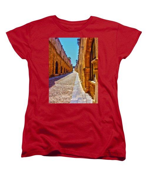 Rhodes Cobbled Street Women's T-Shirt (Standard Cut) by Scott Carruthers