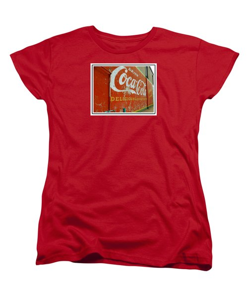 Coca-cola On The Army Store Wall Women's T-Shirt (Standard Cut) by Kathy Barney