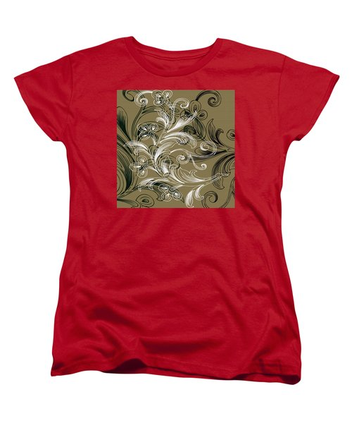 Coffee Flowers 4 Olive Women's T-Shirt (Standard Cut) by Angelina Vick