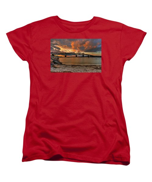 Coleman Bridge At Sunset Women's T-Shirt (Standard Cut) by Jerry Gammon