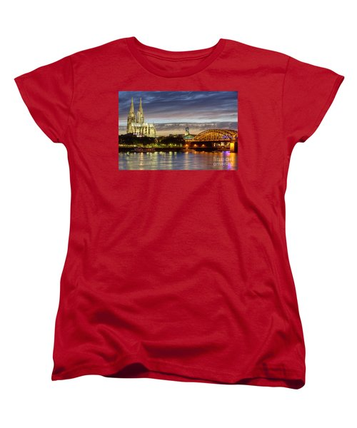 Cologne Cathedral With Rhine Riverside Women's T-Shirt (Standard Cut) by Heiko Koehrer-Wagner