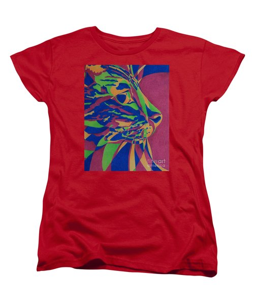 Women's T-Shirt (Standard Cut) featuring the painting Color Cat I by Pamela Clements