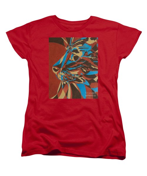 Women's T-Shirt (Standard Cut) featuring the painting Color Cat II by Pamela Clements