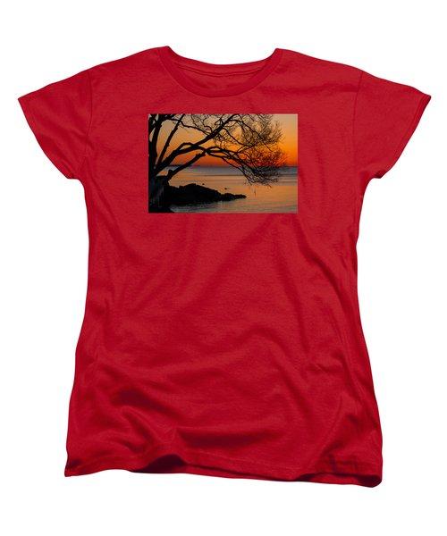 Colorful Quiet Sunrise On Lake Ontario In Toronto Women's T-Shirt (Standard Cut) by Georgia Mizuleva
