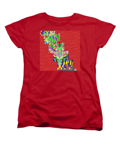 Women's T-Shirt (Standard Cut) featuring the photograph Colorful Tree Of Life Abstract Red Sparkle Base by Navin Joshi