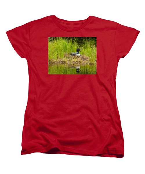 Women's T-Shirt (Standard Cut) featuring the photograph Common Loon Nesting by Brenda Jacobs