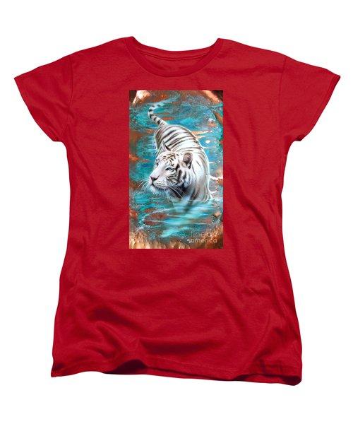 Copper White Tiger Women's T-Shirt (Standard Cut) by Sandi Baker