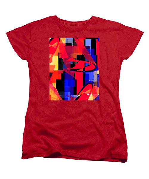 Women's T-Shirt (Standard Cut) featuring the digital art Copter Sunset by Stephanie Grant