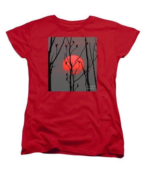 Cormorants At Sunrise Women's T-Shirt (Standard Cut) by Roger Becker