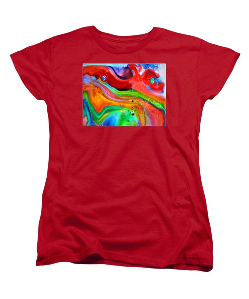 Women's T-Shirt (Standard Cut) featuring the painting Cosmic Lights by Joyce Dickens