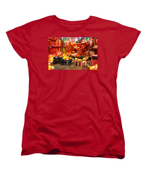 Count And Countess Dracula Inadvertently Took Their Daughters Trick Or Treating At The Van Helsings Women's T-Shirt (Standard Cut) by Lon Casler Bixby