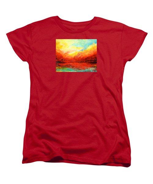 Crimson No.2 Women's T-Shirt (Standard Cut) by Teresa Wegrzyn