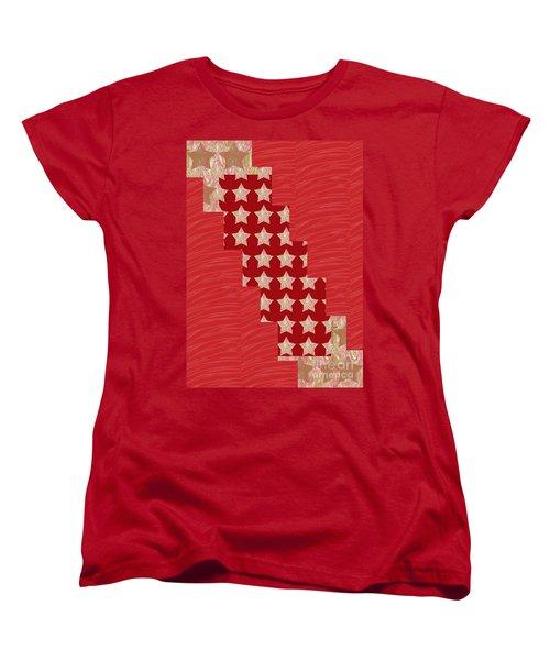Cross Through Sparkle Stars On Red Silken Base Women's T-Shirt (Standard Cut) by Navin Joshi