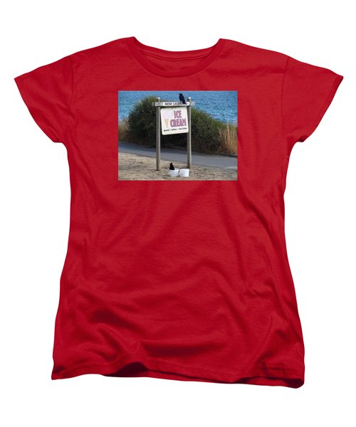 Women's T-Shirt (Standard Cut) featuring the photograph Crow In The Bucket by Cheryl Hoyle