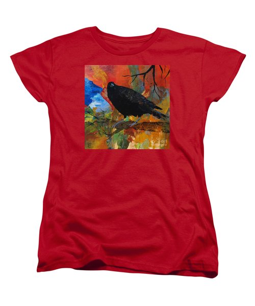 Crow On A Branch Women's T-Shirt (Standard Cut) by Robin Maria Pedrero
