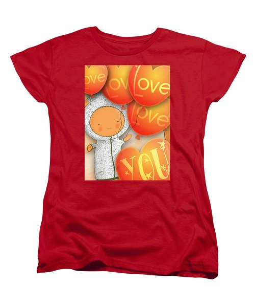 Women's T-Shirt (Standard Cut) featuring the photograph Cute Teddy With Lots Of Love Balloons by Lenny Carter