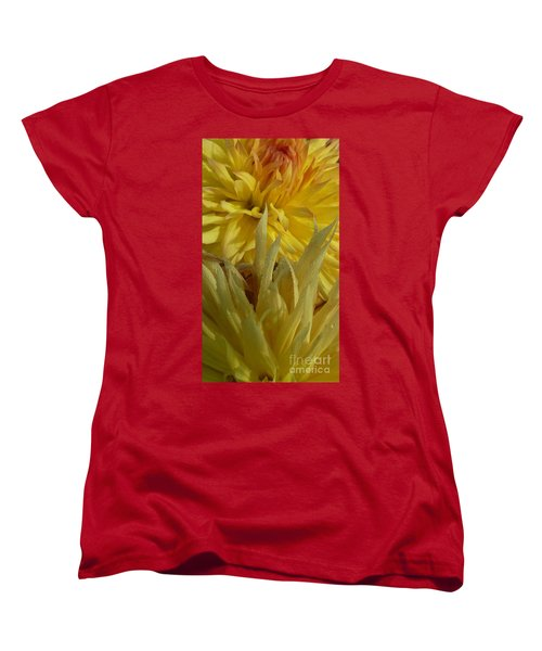 Women's T-Shirt (Standard Cut) featuring the photograph Dahlia Dew Yellow by Susan Garren