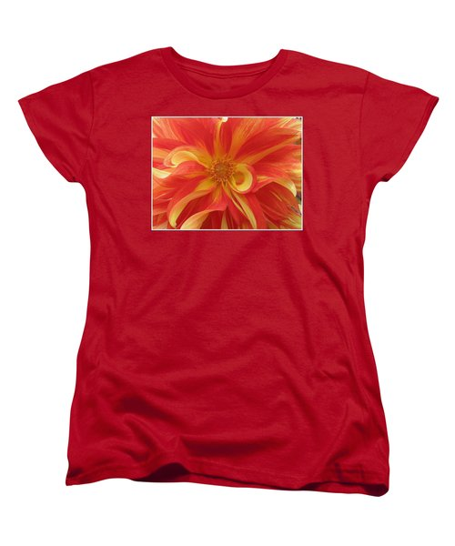 Dahlia Unfurling In Yellow And Red Women's T-Shirt (Standard Cut) by Dora Sofia Caputo Photographic Art and Design