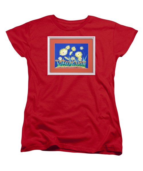 Women's T-Shirt (Standard Cut) featuring the painting Daisies by Ron Davidson