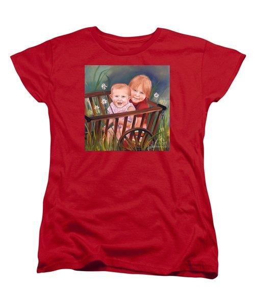 Women's T-Shirt (Standard Cut) featuring the painting Daisy - Portrait - Girls In Wagon by Jan Dappen