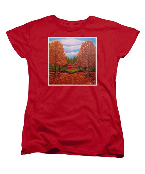 Women's T-Shirt (Standard Cut) featuring the painting Dance Of Autumn Gold With Blue Skies Revised by Kimberlee Baxter